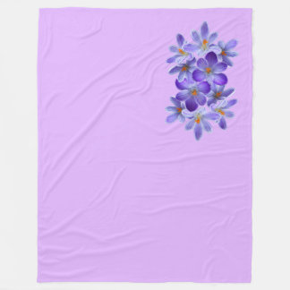 Five violet crocuses 05.4.6, spring greetings fleece blanket