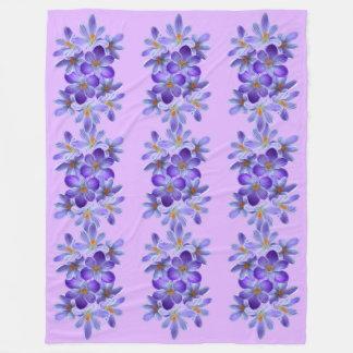 Five violet crocuses 05.5.5, spring greetings fleece blanket