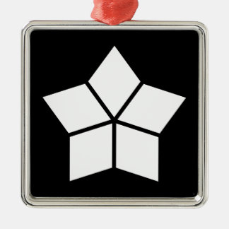 Five water caltrops (ten percentage drawing) Silver-Colored square decoration