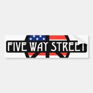 Five Way Street Bumper Sticker Car Bumper Sticker
