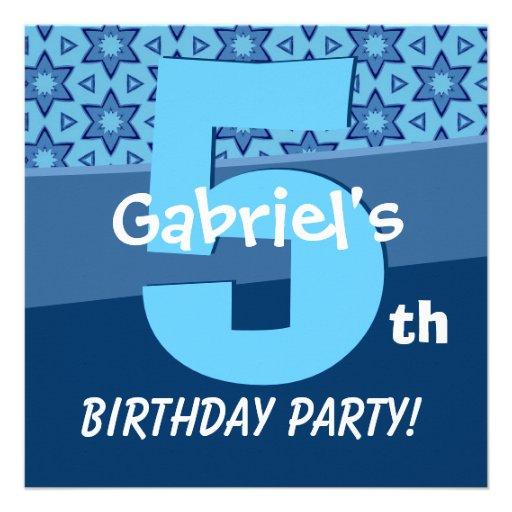 Five Year Old Birthday Blue Stars For Boy W727 Custom Invitation