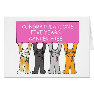 Five years cancer free anniversary. greeting card