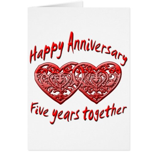 Five Years Together Greeting Card