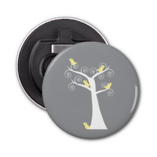 Five Yellow Birds in a Tree Button Bottle Opener