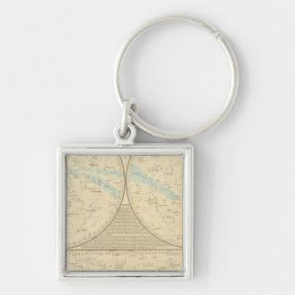 Fixed Stars map Silver-Colored Square Key Ring