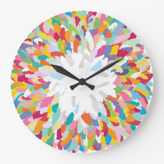 fizzy feathers large clock