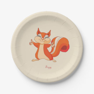 Fizzy the Playful Squirrel Paper Plate