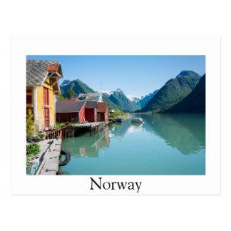 Fjærland and fjord, Norway border postcard