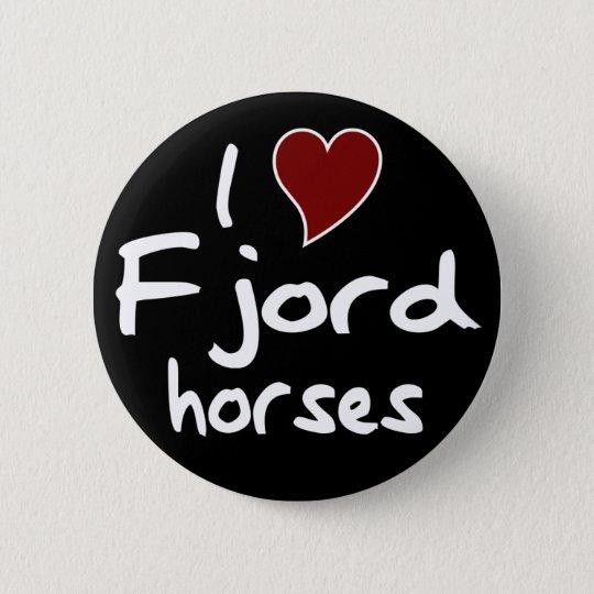 Fjord horses 6 cm round badge