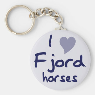 Fjord horses basic round button key ring