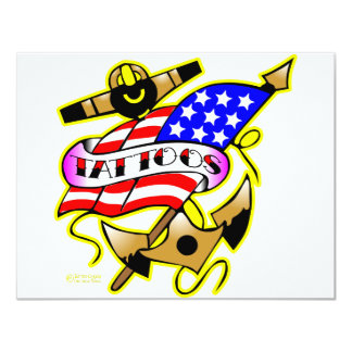 Flag Anchor Tattoo 11 Cm X 14 Cm Invitation Card
