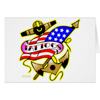 Flag Anchor Tattoo Greeting Cards