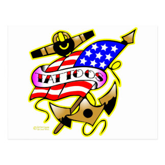 Flag Anchor Tattoo Postcards