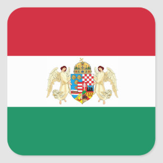 Flag and Coat of Arms - Hungary Square Sticker