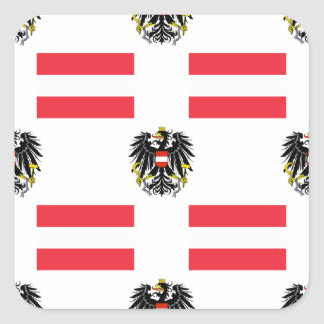 Flag and Crest of Austria Square Sticker