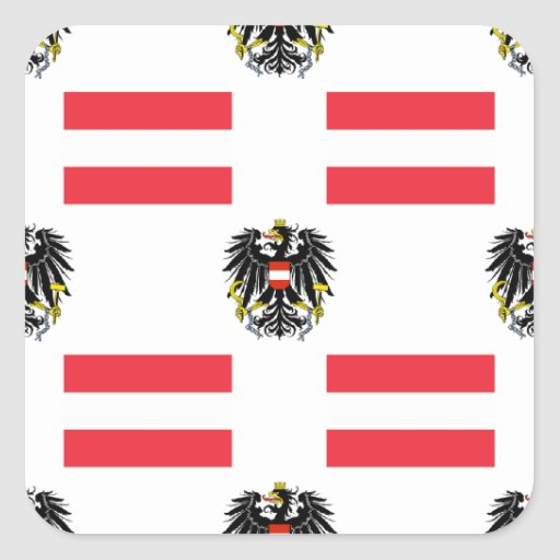Flag and Crest of Austria Square Sticker