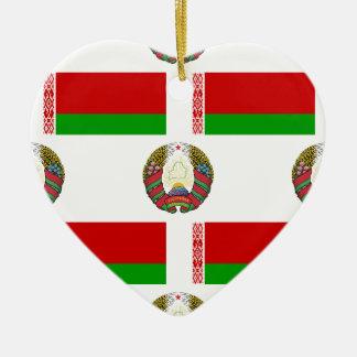 Flag and Crest of Belarus Ceramic Heart Decoration