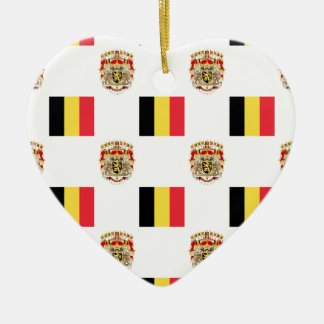 Flag and Crest of Belgium Ceramic Heart Decoration