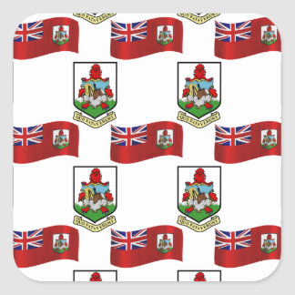 Flag and Crest of Bermuda Square Sticker