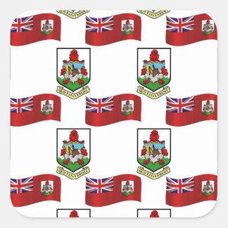 Flag and Crest of Bermuda Square Sticker