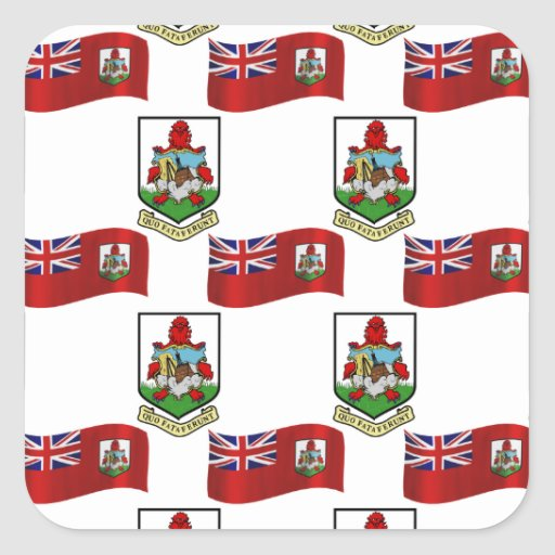 Flag and Crest of Bermuda Square Stickers