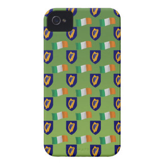 Flag and Crest of Ireland on Green Case-Mate iPhone 4 Cases