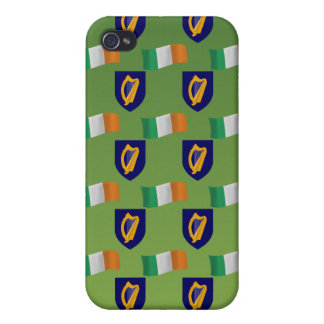 Flag and Crest of Ireland on Green iPhone 4 Cover