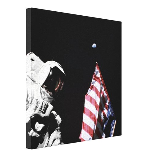 Flag and Earth Stretched Canvas Prints