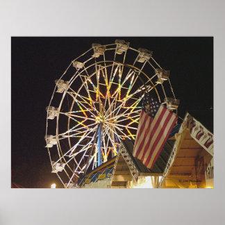 Flag and Ferris Wheel at the Fair Print