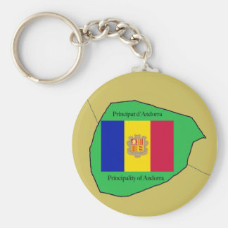Flag and Map of Andorra Key Ring