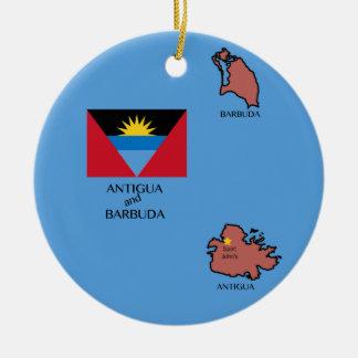 Flag and Map of Antigua and Barbuda Christmas Ornament