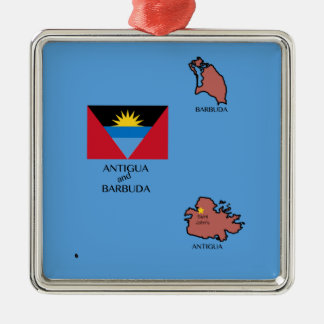 Flag and Map of Antigua and Barbuda Silver-Colored Square Decoration