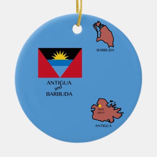 Flag and Map of Antigua and Barbuda Christmas Tree Ornaments
