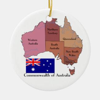 Flag and Map of Australia Round Ceramic Decoration