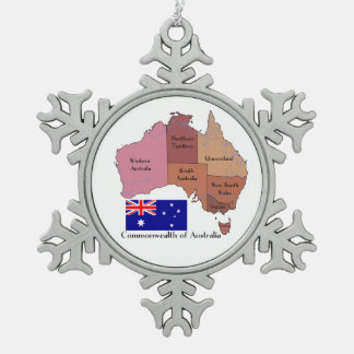 Flag and Map of Australia Snowflake Pewter Christmas Ornament