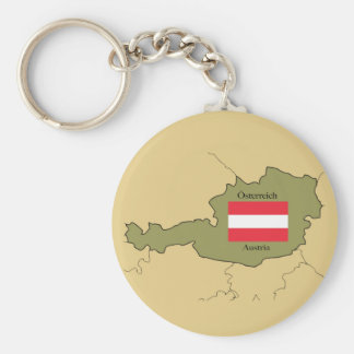 Flag and Map of  Austria Key Ring