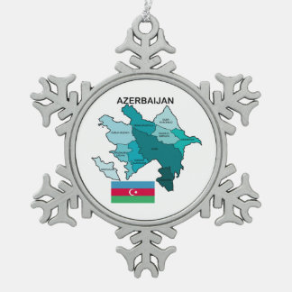 Flag and Map of Azerbaijan Pewter Snowflake Decoration