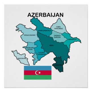 Flag and Map of Azerbaijan Perfect Poster