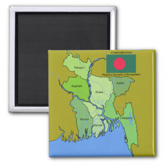 Flag and Map of Bangladesh Fridge Magnet
