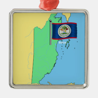 Flag and Map of Belize Christmas Ornament