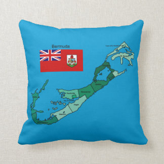Flag and Map of Bermuda Cushion