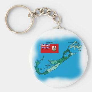 Flag and Map of Bermuda Key Ring