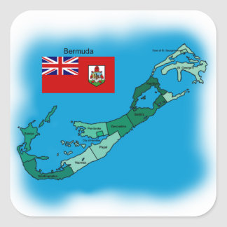 Flag and Map of Bermuda Square Sticker