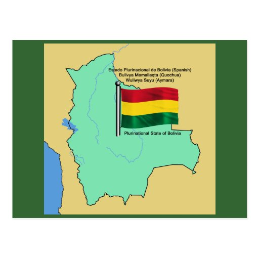 Flag and Map of Bolivia Post Card