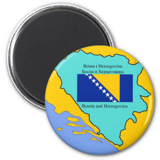 Flag and Map of Bosnia and Herzegovina 6 Cm Round Magnet