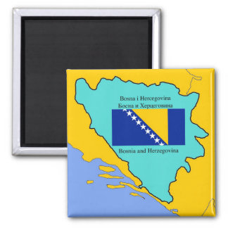 Flag and Map of Bosnia and Herzegovina Square Magnet