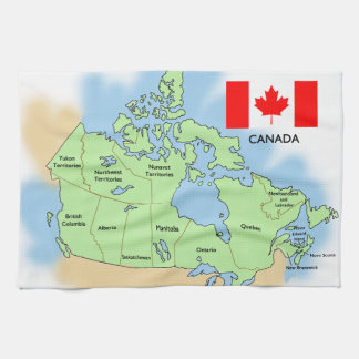 Flag and Map of Canada Tea Towel