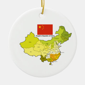 Flag and Map of China Christmas Ornament