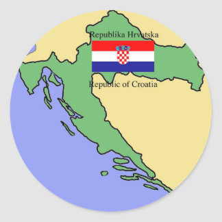 Flag and Map of Croatia Classic Round Sticker