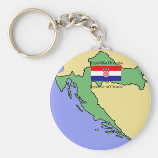 Flag and Map of Croatia Key Ring